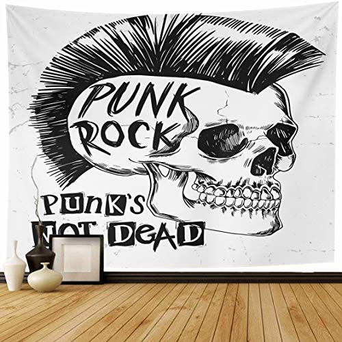 Ahawoso Tapestry Wall Hanging 80x60 Party Graphic Punk Rock Skull Slogan Vintage Art Horror Gothic Mohawk Concert Rockabilly Home Decor Tapestries Decorative Bedroom Living Room Dorm ()