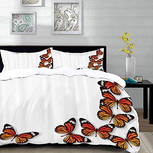 Duvet Cover Set,Butterflies ation Set Theme Image,Monarch Butterfly Flying from Bottom Right Corner Insect Exotic Warm Weather,Queen/Full Size Decorative 3 Piece Bedding Set with 2 Pillow Shams,Cream