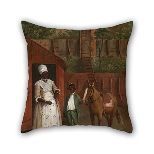 [Artistdecor Oil Painting Agostino Brunias - A Mother With Her Son And A Pony Cushion Cases ,best For Kids Room,play Room,father,wife,office,saloon 16 X 16 Inches / 40 By 40 Cm(two] (Best Mother And Son Costumes)