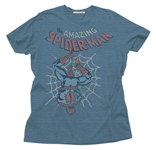 Junk Food The Amazing Spider-Man Adult Slate Blue T-Shirt (Adult X-Large)