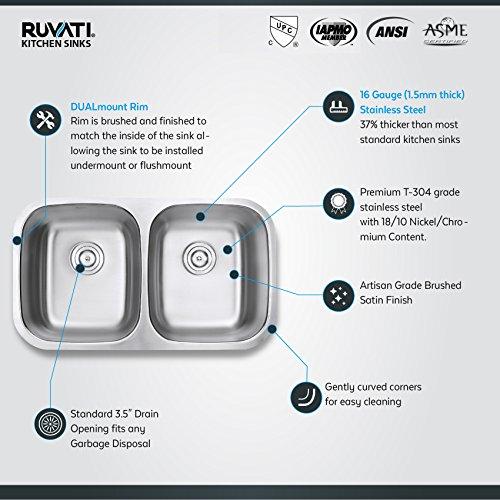 Ruvati 32-inch Undermount 50/50 Double Bowl 16 Gauge Stainless Steel Kitchen Sink - RVM4300 by Ruvati (Image #3)