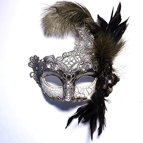 Storm Buy] Women Lady Girls Costume Venetian mask Feather Masquerade Mask Halloween Mardi Gras Cosplay Party Masque (Class Silver)]()