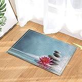 Spa Decor Japanese Style Pebbles Red Flowers Bath Rugs Non-Slip Doormat Floor Entryways Indoor Front Door Mat Kids Mat 15.7x23.6in Bathroom Accessories