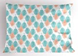 Ambesonne Hawaii Pillow Sham, Exotic Leaves Tropic Foliage Vintage Nature Silhouettes Abstract Spring Season, Decorative Standard Queen Size Printed Pillowcase, 30 X 20 Inches, Salmon Pale Blue