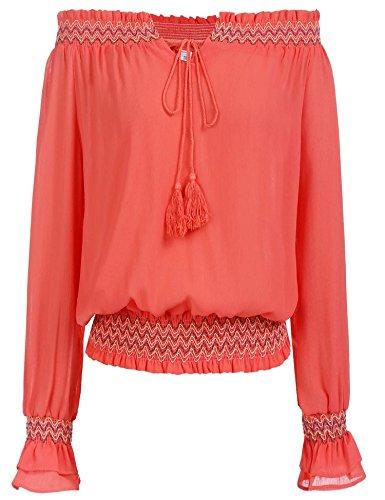 Zeagoo Ladies Cute Smocked Off Shoulder Blouse Loose Solid Chiffon Crop Tops Orange (Smocked Shoulder)