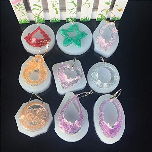 FidgetFidget Molds 9Pc Flower Butterfly Carved Jade Pendant Silicone Resin Jewelry Earring DIY