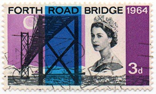 UK (England, Great Britain) Postage Stamp Single 1964 Forth Road Bridge Issue Queen Elizabeth II 3 Pence Scott (Queen Elizabeth Bridge)