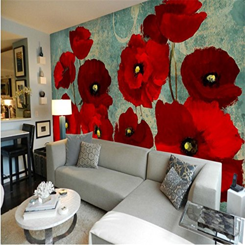 430cmX300cm Large custom wallpaper red flower haiga mulberry poppy flower oil painting background wall painting papel - Poppy Mulberry