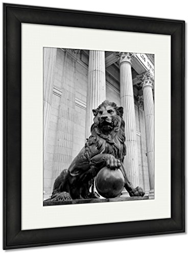 Ashley Framed Prints Monument, Wall Art Home Decoration, Black/White, 40x34 (frame size), Black Frame, AG5399800 Two Piece Lion Wall Fountain