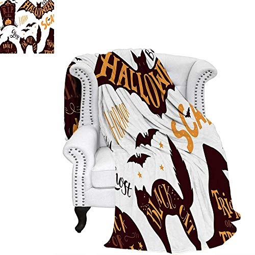 WilliamsDecor Vintage Halloween Digital Printing Blanket Halloween Symbols Trick or Treat Bat Tombstone Ghost Candy Scary Custom Design Cozy Flannel Blanket 60