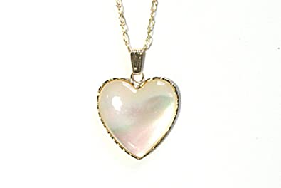 9ct gold mother of pearl heart pendant and chain amazon 9ct gold mother of pearl heart pendant and chain aloadofball Image collections
