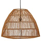 Stone & Beam Rustic Global Round Woven Pendant with Bulb, 44.5''H, Natural Rattan