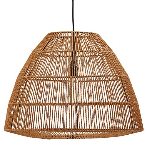 - Stone & Beam Rustic Global Round Woven Lamp Shade Hanging Ceiling Pendant Fixture with Light Bulb - 20 x 20 x 44.5 Inches, Natural Rattan