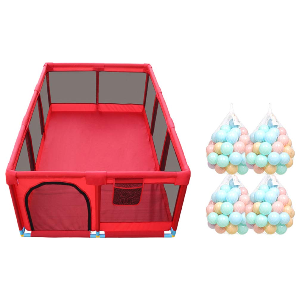 子供用プレイフェンス ベビーベビーサークル ベビーインドアプレイグラウンド 幼児フェンス 子供の安全柵 家庭用防護柵 (色:赤、サイズ:128X190X66CM)   B07T44WRFD