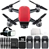 DJI Spark Portable Mini Drone Quadcopter Virtual Reality Experience VR Ultimate Bundle (Lava Red)