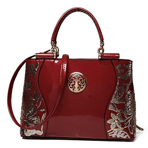 (G-AVERIL) Borsa 4Colour Bauletto da Donna Elegante con Manici e Tracolla in pelle Vino rosso