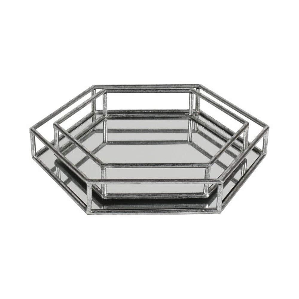 Willa Arlo Interiors Metal 2 Piece Hexagon Mirrored Decorative Vanity Tray Set + Free Basic Design Concepts Expert Guide