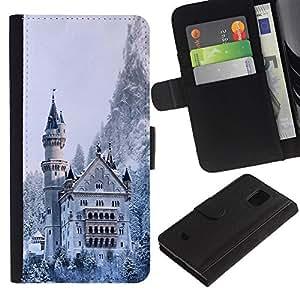 All Phone Most Case / Oferta Especial Cáscara Funda de cuero Monedero Cubierta de proteccion Caso / Wallet Case for Samsung Galaxy S5 Mini, SM-G800 // Architecture Snowy Winter Castle