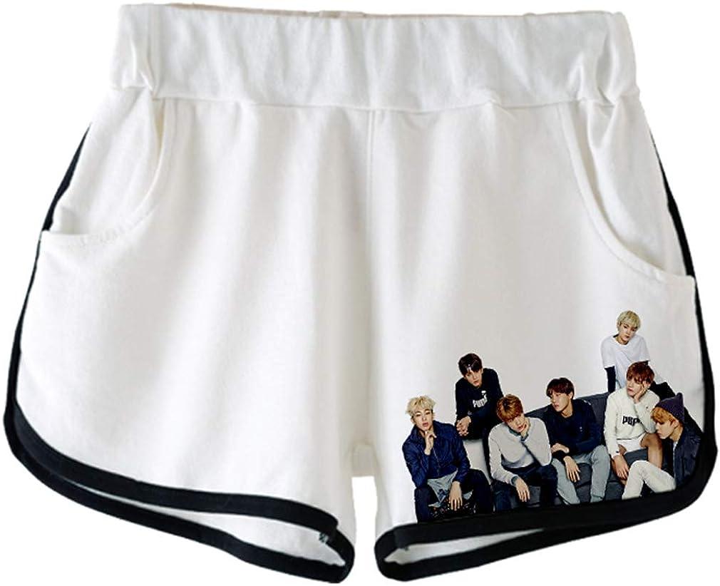 HAOSHENG Mode 3D Kpop BTS Impression Crop Top T-Shirts et Shorts Ensemble Suit pour Les Filles et Les Femmes Sportswear