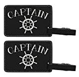 Wedding Gifts Captain Matching Couples Luggage Tags Couples Gifts for Newlyweds Gay Couple Gifts 2-pack Laser Engraved Leather Luggage Tags Black