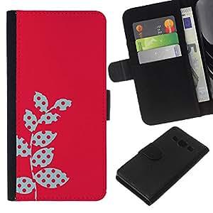 KLONGSHOP // Tirón de la caja Cartera de cuero con ranuras para tarjetas - Polka Dot Raster rosadas Hojas rojas - Samsung Galaxy A3 //