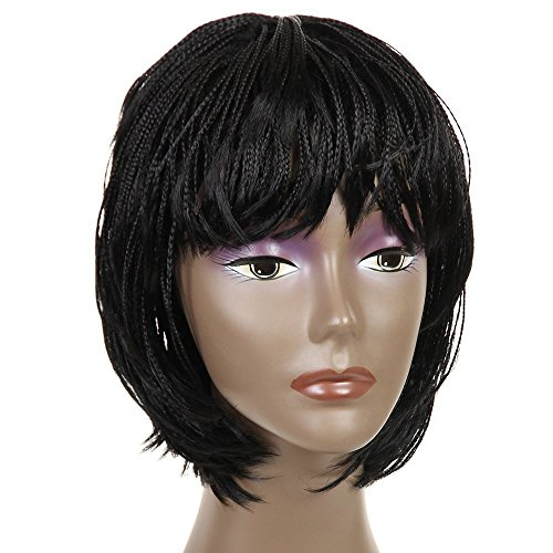 "Search : Synthetic Small Box Braided Wigs African American Bob Braided Wigs for Black Women 12"" (#1B)"
