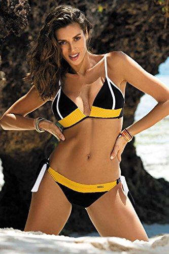 Marko Agnes M-398 Traje De Bano De Dos Piezas Bikini Para Mujeres Copas Con Relleno - Hecho En La UE amarillo-negro