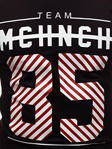 Print Rond – Bolf Courtes T Noir Homme shirt Col Manches 2082 Avec Yan4pq6