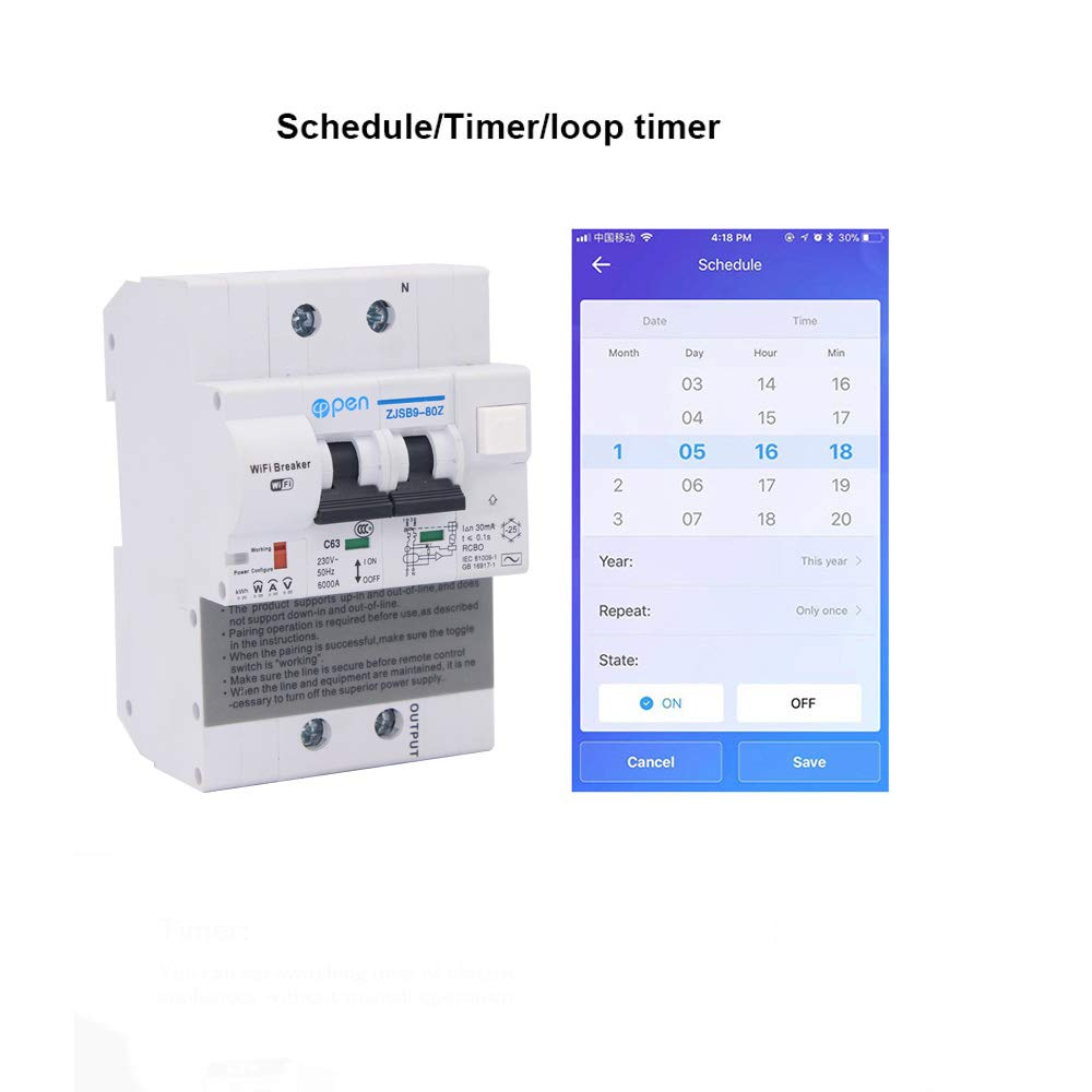 compatible avec Alexa Google Home pour RS485 pour la maison intelligente 2p 63A WIFI Disjoncteur Protection contre les surcharges diff/érentiel intelligent avec fonction de surveillance de l/'/énergie