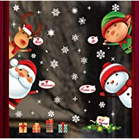 UMIPUBO Christmas Window Clings Window Wall Stickers Cute Santa Claus Reindeer with Static PVC Stickers for Christmas Home/Shop/Party Window Decorations (2 X 30 * 90 cm)
