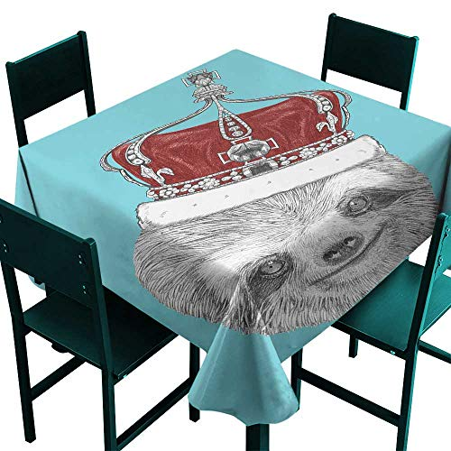 Warm Family Sloth Oil-Proof and Leak-Proof Tablecloth Cute Hand Drawn Animal with Imperial Ancient Crown King of Laziness Theme Indoor Outdoor Camping Picnic W50 x L50 Aqua Burgundy Grey