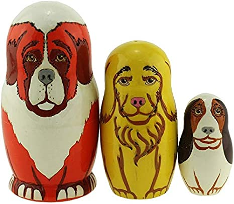 Orange Azhna 3 pcs Animal Family Nesting Doll Souvenir Home Decor Collection Woodburned and Hand Painted Russian Doll 10.5 cm Wooden Stacking Doll