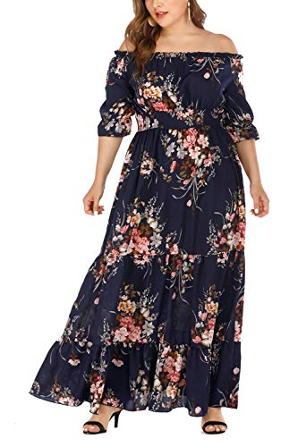 Plus Size Chiffon Floral Print Off Shoulder Summer Casual for Women Maxi Formal Evening Party Dress (-9, 2XL) (Cruise Maxi Dress Size Plus)