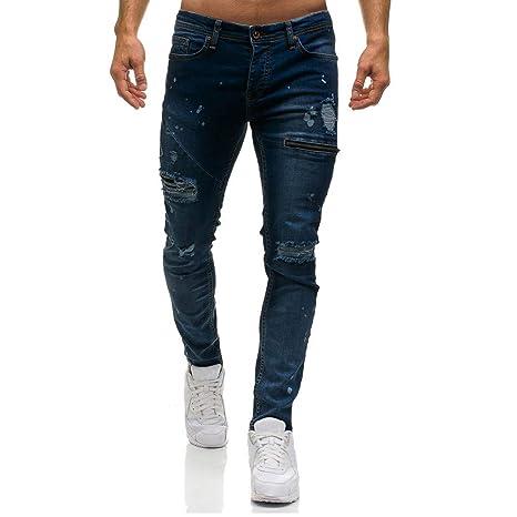 Amazon.com: Mens Denim Pants Mens Slim Fit Skinny Holes ...