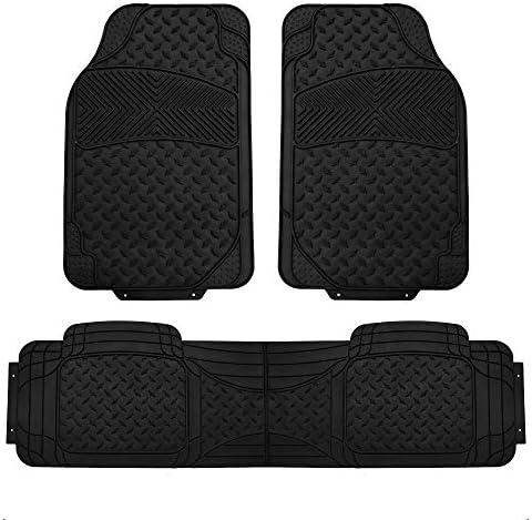 FH Group F11307 Semi-Custom Trimmable Vinyl Floor Mats (Black) Full Set- Universal Fit for Cars Trucks and SUVs
