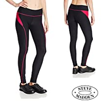 Steve Madden Womens Fitted Ankle Legging Yoga Pants Color Side - Pink