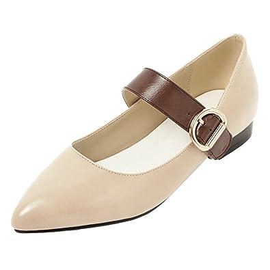JOJONUNU Damen Mode Mary Jane Pumps Low Heel Beige Size 41 Asian Nk8D2gQ