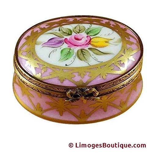 Pink & Gold Oval W/Flowers - French Limoges Boxes - Porcelain Figurines Collectible -