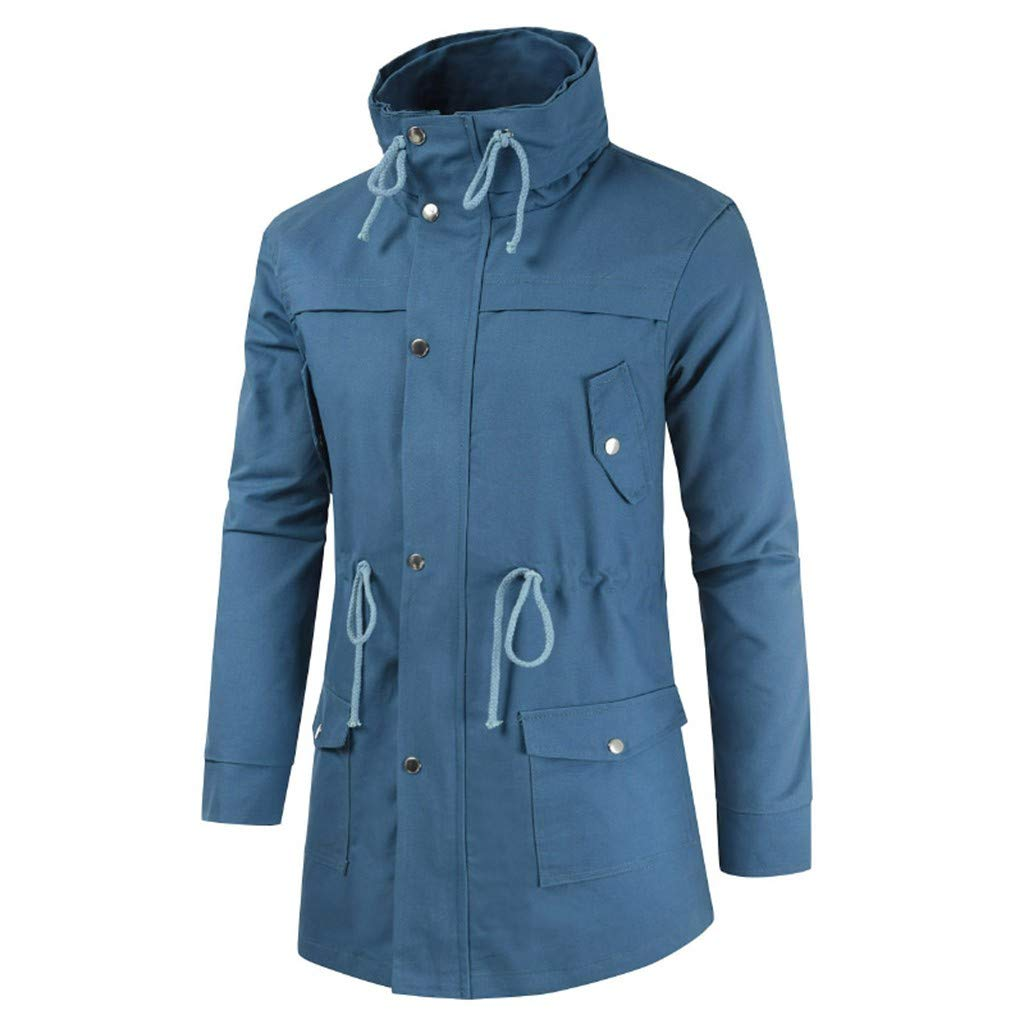 Allywit-Mens New Mid Long Coat Turtleneck Jacket for Leisure Lightweight Simple Comfortable Coat Blue by Allywit-Mens