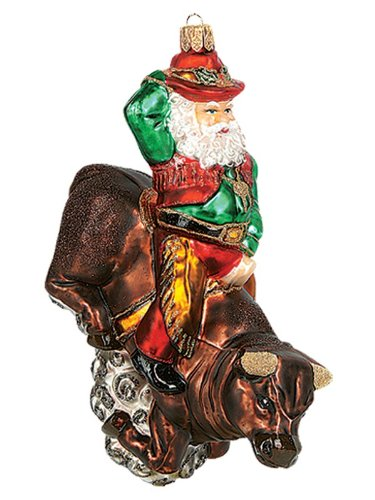 Western Santa Ornament (Western Santa Riding on Bull Polish Glass Christmas Ornament Tree Decoration)