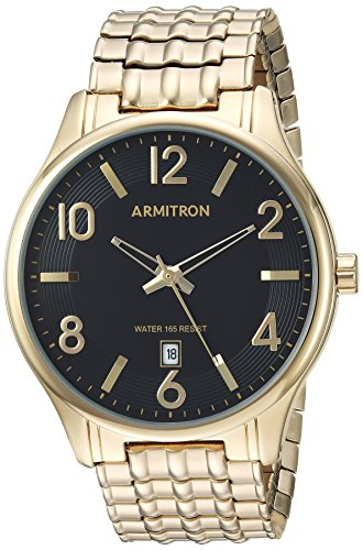 Armitron Men's 20/5221BKGP Date Function Dial Gold-Tone Expansion Band Watch
