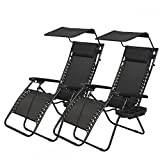 BestMassage 2 PCS Zero Gravity Chair Lounge Patio Chairs with canopy Cup Holder Review