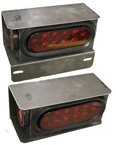 2 LONG HAUL New Trailer Truck Steel Housing Box with License Plate Bracket kit w/LED Lights