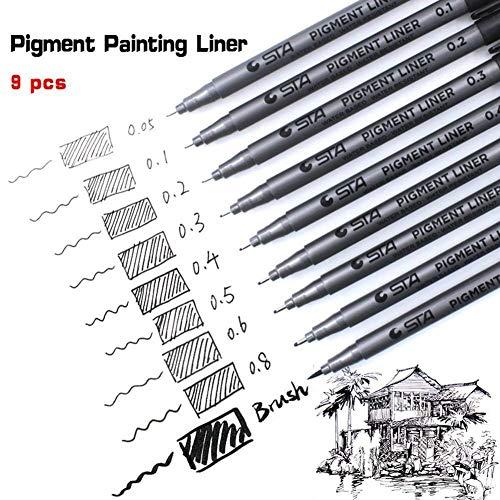 Fineliner Penne,Beoto 9ps Nero Pigmento Pennarelli Micro Penne Line Point Ink Micro-Pen Fineliner per Disegno, Illustrazione Dell\'artista, Documenti di Office