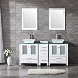 "WONLINE 60"" White Double Wood Bathroom Vanity"