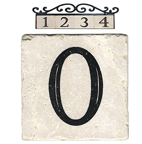 NACH AZ-CLASSIC House Address Number Tiles - #0, Marble/Beige, 4 x 4