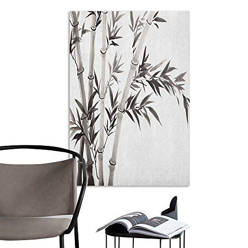 Brandosn 3D Murals Stickers Wall Decals Bamboo Traditional Bamboo Leaves Meaning Wisdom Growth Renewal Unleash Your Power Artprint Grey White Rental House Wall W8 x H10