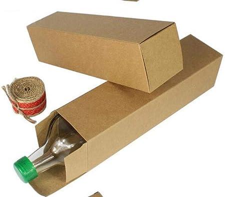 Caja de Papel Kraft marrón de 20 Unidades, Cajas de Regalo de Boda, Cajas de Regalo, Cajas de Regalo para Botellas de Vino/Botella de Aceite/cosméticos, Beige, 7x7x28cm: Amazon.es: Hogar