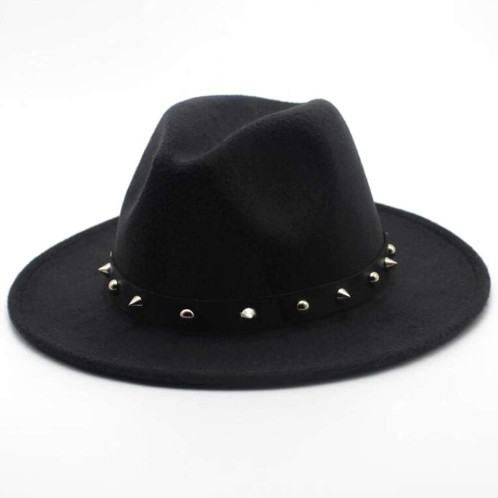 SANOMY Unisex Fedora Hat with Leather Rivet Gentleman Elegant Wide Brim Jazz Church Cap