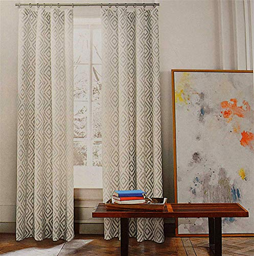 Tommy Hilfiger Diamond Lake Pair of Curtains 2 window panels, 50 by 96-inch Gray Ivory White Grey Aztec Geometric (Tommy Hilfiger Shop Online)